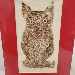 RARE Don Gilbert Owl Art Signed Numbered Etching